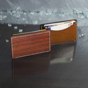 Wood & leather wallet